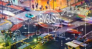 Englisch mit Stadtverkehrsschnitt stockbild
