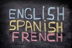 Englisch, spanisch, französisch lizenzfreies stockbild