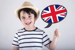 Englisch sprechendes Kind stockfotos