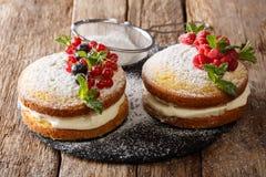 Englisch-Victoria-Sandwichkuchen mit frischen Beeren und Minzenabschluß stockbilder