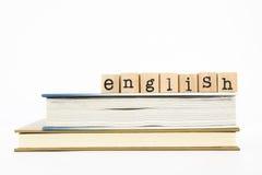 Englische Benennung und Bücher Stockbilder