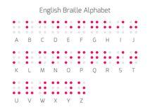 Englische Blindenschrift-Alphabetbuchstaben Stockfoto