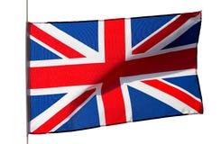 Englische Flagge im Wind auf weißem Hintergrund Stockbild