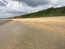 Englische Küstenlinie in Hampshire Schindelstrand mit grünem Hintergrund Stockfotografie
