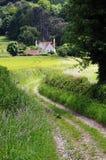 Englische landwirtschaftliche Landschaft mit Feldweg Lizenzfreie Stockbilder