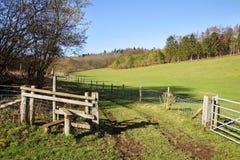 Englische landwirtschaftliche Landschaft mit Zauntritt durch einen Feldweg Stockbild