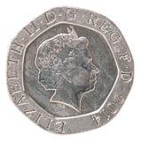 20 englische Pennys Lizenzfreie Stockfotografie