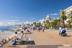 Englische Promenade in Nizza Stockfoto
