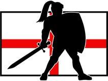 Englische Ritter-Shield Sword England-Flagge Retro- Lizenzfreie Stockfotografie