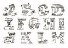 Englische Sprachalphabet, Buchstaben in den Häusern formen Hand gezeichnete FO Lizenzfreie Stockbilder