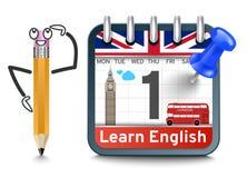 Englische Sprachkurse mit Kalenderkonzept vektor abbildung