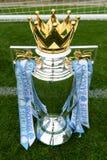 Englische Trophäe Fußball erster Liga Barclayss Stockbilder