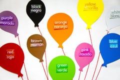 Englische und spanische Farben Stockbild