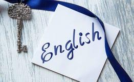 Englische Wörter, die Bildungskonzeptbeschriftung lernen stockfotografie