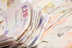 Englischer Banknotehintergrund Stockbild