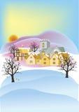 Englischer Dorfsonnenuntergang und -schnee Lizenzfreies Stockfoto