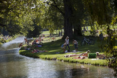 Englischer Garden. The Englischer Garten, German for English Garden, is a large public park in the centre of Munich, Bavaria, stretching from the city centre to Royalty Free Stock Photo