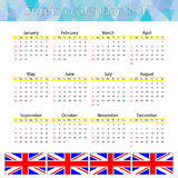 Englischer Kalender 2017 Lizenzfreie Abbildung