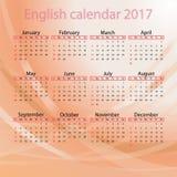 Englischer Kalender 2017 auf rotem Hintergrund Stock Abbildung