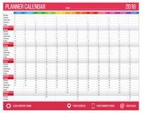 Englischer Kalenderplaner für Jahr 2018 12 Monate, Unternehmenssymbolplanerschablone, bedruckbarer Kalender der Größe A4 Lizenzfreie Stockbilder