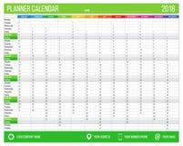 Englischer Kalenderplaner für Jahr 2018 12 Monate, Unternehmenssymbolplanerschablone, bedruckbarer Kalender der Größe A4 Stockfotografie