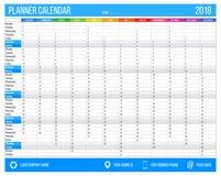 Englischer Kalenderplaner für Jahr 2018 12 Monate, Unternehmenssymbolplanerschablone, bedruckbarer Kalender der Größe A4 Stockbilder