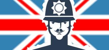 Englischer Polizist auf Flaggenhintergrund Stockfotografie
