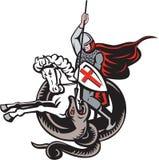 Englischer Ritter Fighting Dragon England Flag Shield Retro Stockfotos
