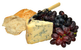 Englischer Stilton-Käse mit Trauben und Brot Lizenzfreies Stockbild