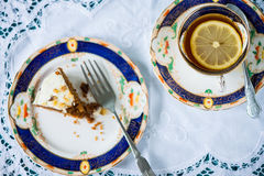 Englischer Tee des traditionellen Nachmittages in Retro- Stockbilder