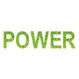 Englisches Alphabet der ENERGIE gemacht vom grünen Gras auf weißem Hintergrund Stockfotografie