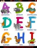 Englisches Alphabet der Karikatur mit Tieren Lizenzfreie Stockbilder