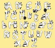 Englisches Alphabet der netten Tiere der Pandabären mit Karikaturbabyillustrationen stockfotografie
