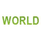 Englisches Alphabet der WELT gemacht vom grünen Gras auf weißem Hintergrund Stockfoto