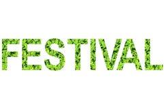 Englisches Alphabet des FESTIVALS gemacht vom grünen Gras auf weißem Hintergrund für lokalisiert Lizenzfreie Stockfotografie