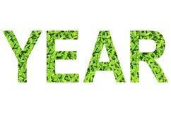 Englisches Alphabet des JAHRES gemacht vom grünen Gras auf weißem Hintergrund für lokalisiert Lizenzfreies Stockbild