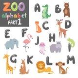 Englisches Alphabet des netten Vektorzoos mit bunter Illustration der Karikaturtiere Stockfoto