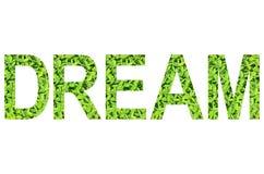 Englisches Alphabet des TRAUMS gemacht vom grünen Gras auf weißem Hintergrund für lokalisiert Stockfotografie
