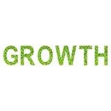 Englisches Alphabet des WACHSTUMS gemacht vom grünen Gras auf weißem Hintergrund für lokalisiert Stockfoto