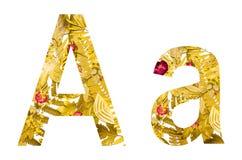 Englisches Alphabet gemacht von den trockenen Blättern und vom trockenen Gras auf weißem Hintergrund für lokalisiert Lizenzfreies Stockbild
