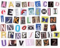 Englisches Alphabet geschnitten von der Zeitschrift Lizenzfreies Stockbild