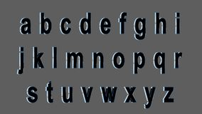 Englisches Alphabet, Kleinguß 3D, schwarz mit metallischen Seiten Lokalisiert, bedienungsfreundlich Stockfotografie