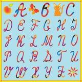 Englisches Alphabet mit bunten Zeichen Lizenzfreies Stockbild