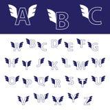 Englisches Alphabet mit Flügeln Stockbild