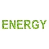 Englisches Alphabet von ENERGIE gemacht vom grünen Gras auf weißem Hintergrund Lizenzfreies Stockbild