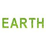 Englisches Alphabet von ERDE gemacht vom grünen Gras auf weißem Hintergrund Lizenzfreies Stockbild