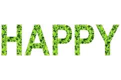 Englisches Alphabet von GLÜCKLICHEM gemacht vom grünen Gras auf weißem Hintergrund für lokalisiert Lizenzfreies Stockbild