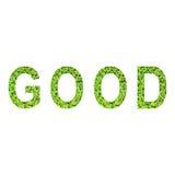Englisches Alphabet von GUTEM gemacht vom grünen Gras auf weißem Hintergrund Lizenzfreie Stockbilder