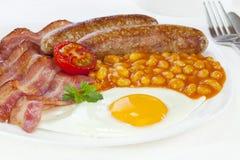 Englisches Frühstück-Speck-Ei-Wurst-Bohnen-Tomate Stockbild