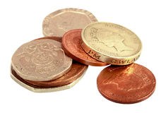 Englisches Geld auf Weiß Stockbild
